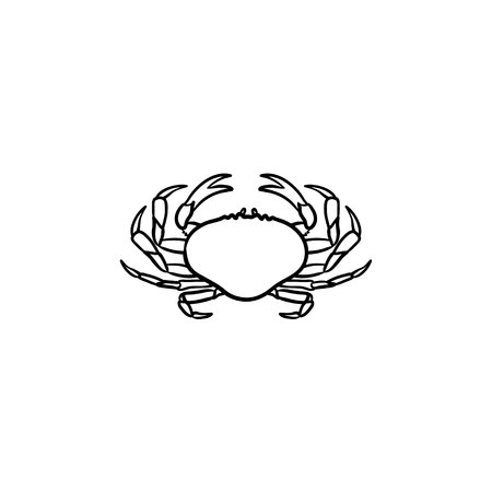 Crab hand drawn outline doodle icon. Vector sketch illustration of healthy seafood - crab for print, web, mobile and infographics isolated on white background. Çizim