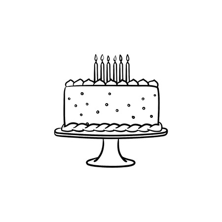Birthday cake hand drawn outline doodle icon. Vector sketch illustration of decorated birthday cake with candles for print, web, mobile and infographics isolated on white background.