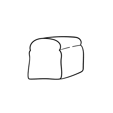 Half of bread hand drawn outline doodle icon. Toast bread for sandwich vector sketch illustration for print, web, mobile and infographics isolated on white background.  イラスト・ベクター素材