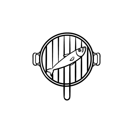 Fish grill hand drawn outline doodle icon. Vector sketch illustration of fish on a grill pan for print, web, mobile and infographics isolated on white background.