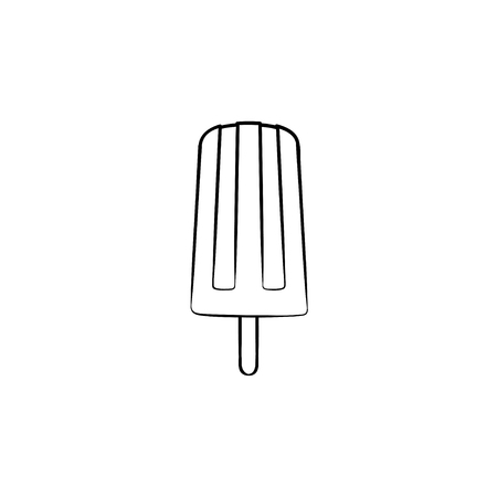 Popsicle vector hand drawn outline doodle icon. Ice cream of popsicle on stick vector sketch illustration for print, web, mobile and infographics isolated on white background.