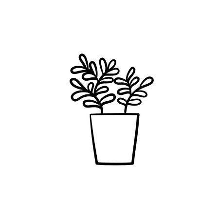 Ficus hand drawn vector outline doodle icon. Decorative potted house plant sketch illustration for print, web, mobile and infographics isolated on white background.