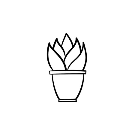 Sansevieria trifasciata hand drawn vector outline doodle icon. Decorative potted house plant sketch illustration for print, web, mobile and infographics isolated on white background.
