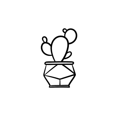 Cactus hand drawn vector outline doodle icon. Decorative potted house plant sketch illustration for print, web, mobile and infographics isolated on white background.