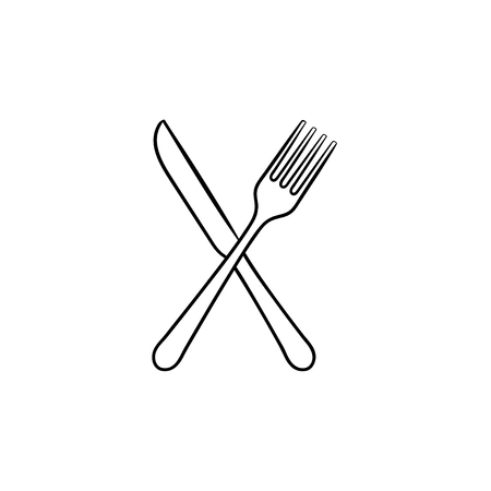 Fork and knife hand drawn outline doodle icon. Cutlery - crossed fork and knife vector sketch illustration for print, web, mobile and infographics isolated on white background. Иллюстрация