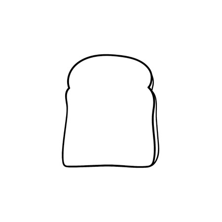 Whole wheat toast bread hand drawn outline doodle icon. Slice of bread for sandwich vector sketch illustration for print, web, mobile and infographics isolated on white background.