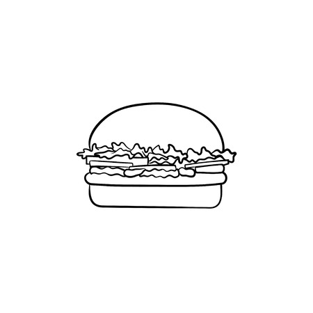Burger hand drawn outline doodle icon. Hamburger vector sketch illustration for print, web, mobile and infographics isolated on white background. Grilled fast food concept.