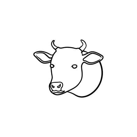 Icône de doodle contour dessiné main tête de vache. Illustration de croquis de vecteur de viande de veau biologique pour impression, web, mobile et infographie isolé sur fond blanc. Vecteurs