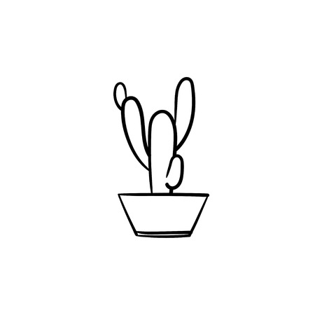 Cactus hand drawn vector outline doodle icon. Decorative potted house plant sketch illustration for print, web, mobile and info-graphics.