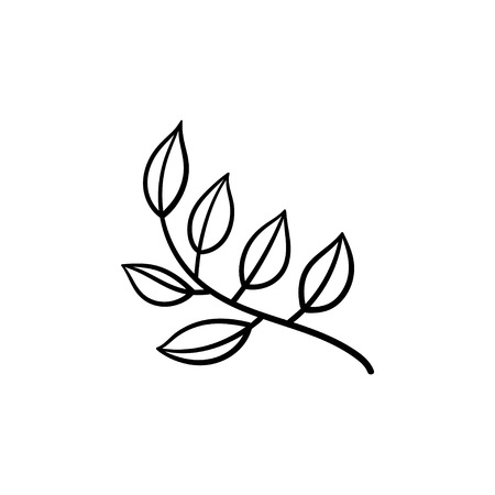Leaves on branch hand drawn vector outline doodle icon. Branch with leaves vector sketch illustration for print, web, mobile and info-graphics.