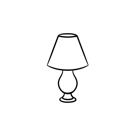Table lamp hand drawn outline doodle icon. A piece of interior - table lamp vector sketch illustration for print, web, mobile and infographics isolated on white background. Stock Illustratie
