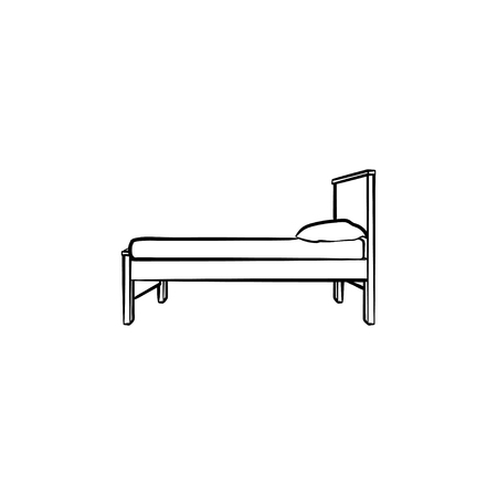 Bed with pillow hand drawn outline doodle icon. Bedroom furniture for sleep - bed with pillow vector sketch illustration for print, web, mobile and infographics isolated on white background.