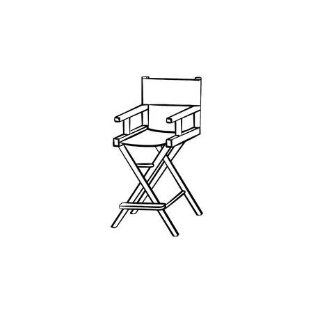 Movie director chair hand drawn outline doodle icon. Chair of Movie director vector sketch illustration for print, web, mobile and infographics isolated on white background. Vectores