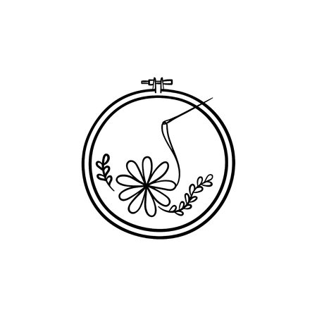 Handicraft hand drawn outline doodle icon. Thread and needle for embroidery vector sketch illustration for print, web, mobile and infographics isolated on white background. 矢量图像