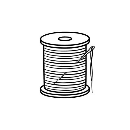 Thread spool with needle hand drawn outline doodle icon. Cotton thread and needle vector sketch illustration for print, web, mobile and info-graphics. Ilustrace
