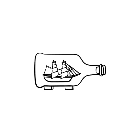 Ship inside the bottle hand drawn outline doodle icon. Bottle with a ship inside vector sketch illustration for print, web, mobile and infographics isolated on white background. Illustration