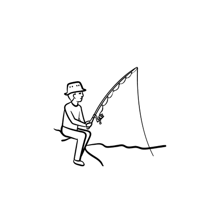 Fishing hand drawn outline doodle icon. Man fishing with rod vector sketch illustration for print, web, mobile and info-graphics.