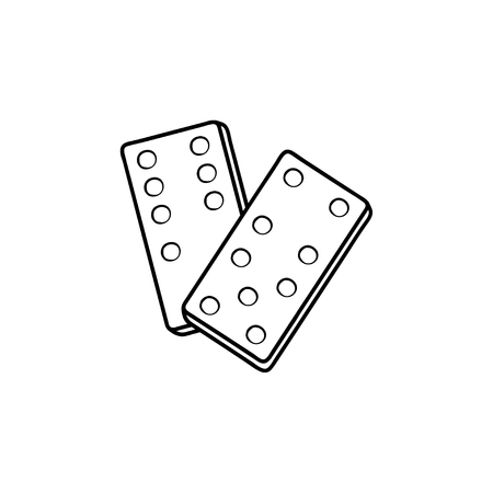 Domino hand drawn outline doodle icon. Vector sketch illustration of domino for print, web, mobile and info-graphics.