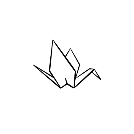 Origami crane hand drawn outline doodle icon. Crane origami vector sketch illustration for print, web, mobile and info-graphics.