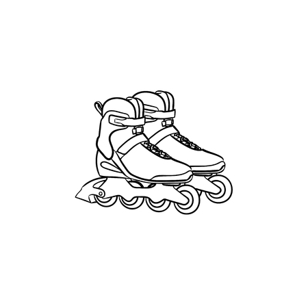 Roller shoes hand drawn outline doodle icon. Roller skates vector sketch illustration for print, web, mobile and infographics isolated on white background.