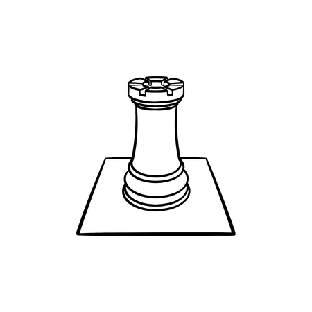 Chess board and figure hand drawn outline doodle icon. Intellectual game - chess vector sketch illustration for print, web, mobile and infographics isolated on white background.