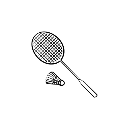 Badminton racket and shuttlecock hand drawn outline doodle icon. Racket and shuttlecock for badminton vector sketch illustration for print, web, mobile and info-graphics.