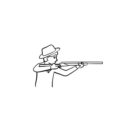 Hunter hand drawn outline doodle icon. Vector sketch illustration of hunter with rifle gun for print, web, mobile and infographics isolated on white background.