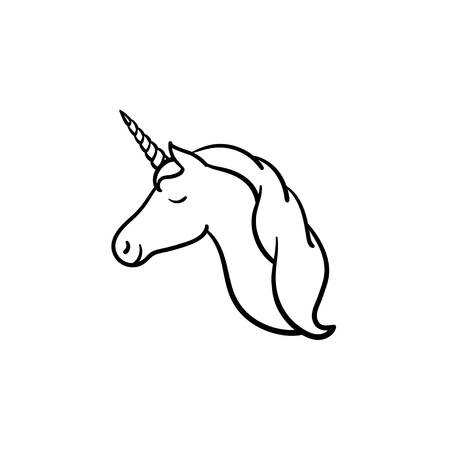 Unicorn head with horn hand drawn outline doodle icon. Fairytale unicorn vector sketch illustration for print, web, mobile and infographics isolated on white background. 矢量图像