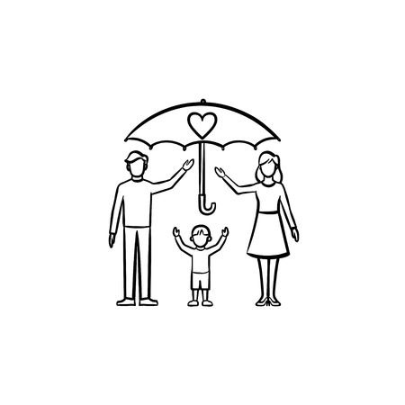 Insurance of family members hand drawn outline doodle icon. Umbrella over family vector sketch illustration for print, web, mobile and infographics isolated on white background.