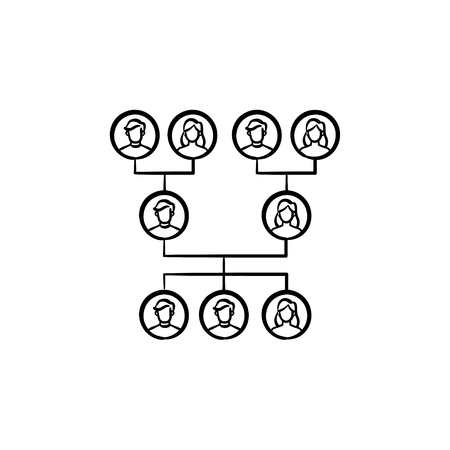 Family genealogical tree hand drawn outline doodle icon. Vector sketch illustration of family genealogical tree for print, web, mobile and infographics isolated on white background.  イラスト・ベクター素材
