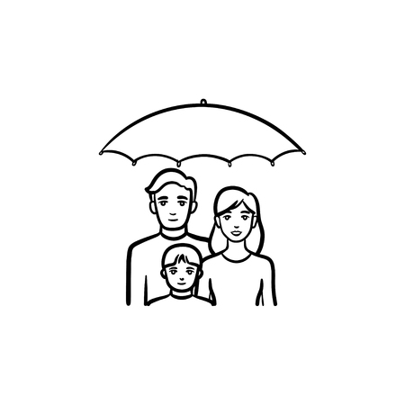 Insurance of family hand drawn outline doodle icon. Umbrella over family vector sketch illustration for print, web, mobile and infographics isolated on white background. Illustration