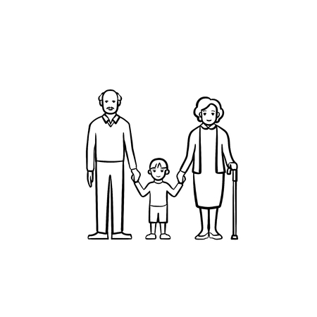 Grandparents and grandson hand drawn outline doodle icon. Happy family together - grandfather, grandmother and grandson holding hands vector sketch illustration for print, web, mobile and infographics Standard-Bild - 100021805