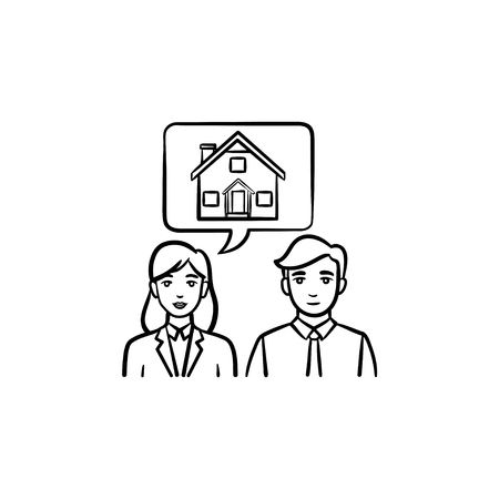 People dreaming about buying a house hand drawn outline doodle icon. Vector sketch illustration of people dreaming about house for print, web, mobile and infographics isolated on white background. Illustration