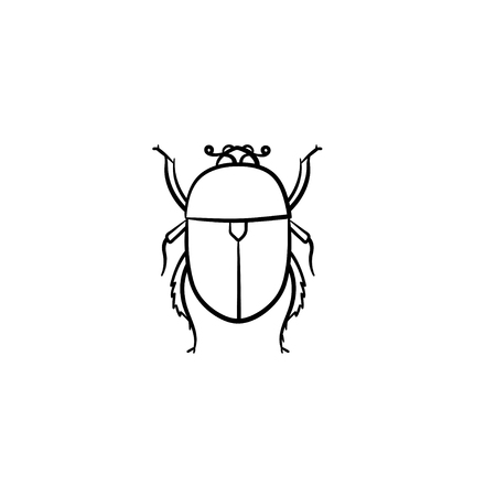Colorado potato bug hand drawn outline doodle icon. Insect colorado potato bug vector sketch illustration for print, web, mobile and infographics isolated on white background. Banque d'images - 100021562
