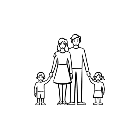 Family relationship hand drawn outline doodle icon. Vector sketch illustration of family - mother, father and children for print, web, mobile and infographics isolated on white background.