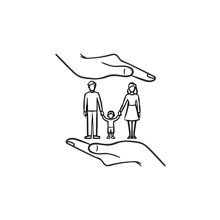 Family insurance hand drawn outline doodle icon. Human hand and family vector sketch illustration for print, web, mobile and infographics isolated on white background.
