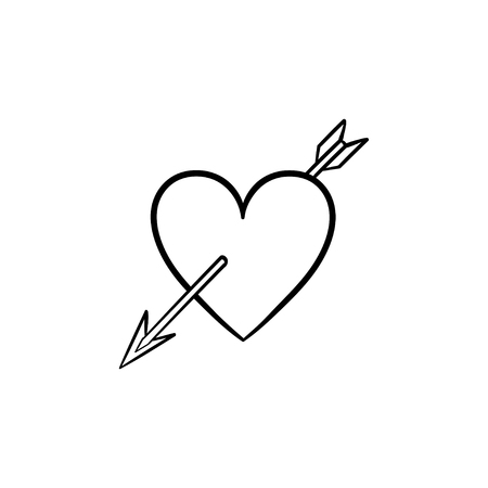 Love heart with cupid arrow hand drawn outline doodle icon. Valentine heart pierced by cupid arrow vector sketch illustration for print, web, mobile and infographics isolated on white background.