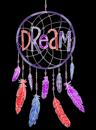 Graphic tee typography slogan dream for t-shirt printing and embroidery. Design element with dreamcatcher on black background. Dreaming concept printed tee. Hand drawn vector for fashion, poster, web.