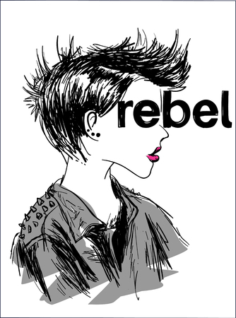 Graphic tee typography slogan rebel for t-shirt printing and embroidery. Design element with girl profile. Rebellion concept printed tee. Hand drawn vector illustration for fashion, poster, web.