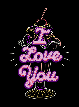 Graphic tee typography slogan I love you for t-shirt printing and embroidery. Design with ultraviolet elements. Love concept printed tee. Hand drawn vector illustration for fashion, poster, web.