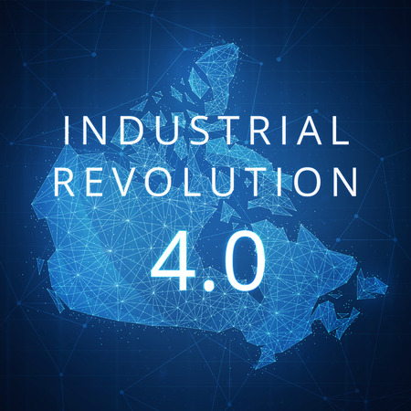 Fourth industrial revolution on futuristic hud background with Canada map and blockchain polygon peer to peer network. Industrial revolution and cryptocurrency blockchain business banner concept