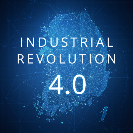 Fourth industrial revolution on futuristic hud background with South korea map and blockchain polygon peer to peer network. Industrial revolution and cryptocurrency blockchain business banner concept Reklamní fotografie