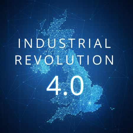 Fourth industrial revolution on futuristic hud background with Great britain map and blockchain polygon peer to peer network. Industrial revolution, cryptocurrency blockchain business banner concept.