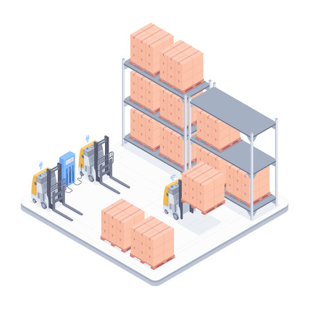 Concept of smart warehouse. Smart wi-fi electric forklifts storaging boxes in a warehouse. Design for landing page of modern logistics center. Vector 3d isometric illustration on white background.