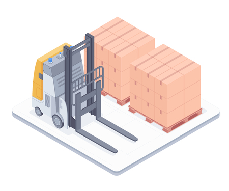Forklift with boxes on pallets isolated on white background. Electric forklift standing in warehouse near the boxes on pallets vector isometric illustration. Ilustracja