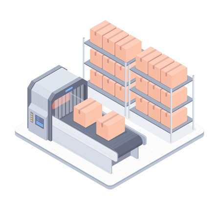Concept of smart warehouse. Smart Automated boxing line in a warehouse. Design for landing page of modern logistics center. Vector 3d isometric illustration on white background.