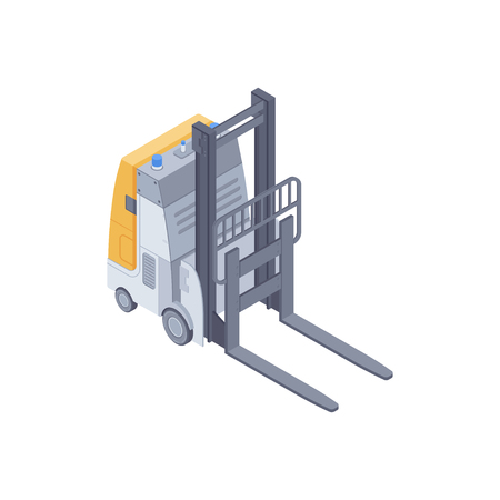 Isometric automated electric forklift. Smart forklift for lifting and moving pallets within a warehouse Ilustração