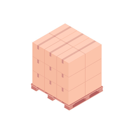 Isometric pallet with boxes. A pallet with small cardboard boxes for transportation and storage