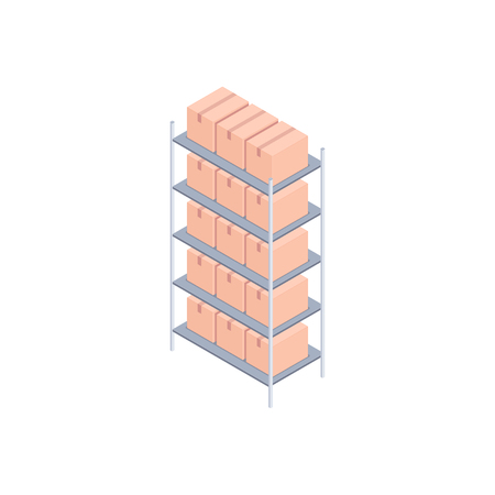 Isometric racks with boxes. Metal rack with small cardboard boxes for delivery, transportation and storage