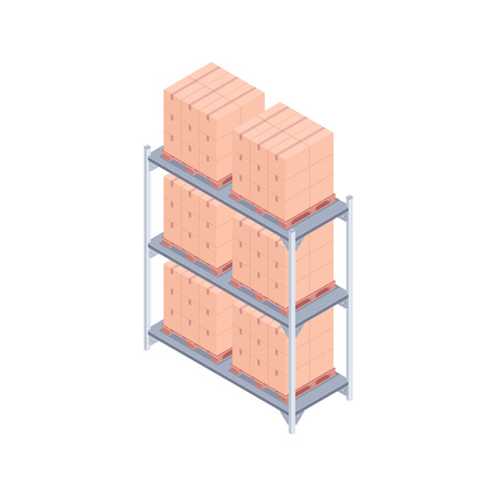 Isometric pallet rack with boxes. Illustration